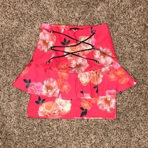 Pink floral skirt with lace